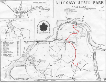 Old Allegany State Park Guide Map showing how to get to Thunder Rocks from Salamanca