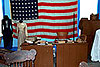 Old desk, outfits and american flag