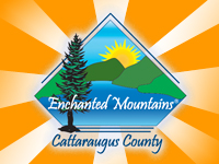 Enchanted Mountains of Cattaraugus County on an orange and white background