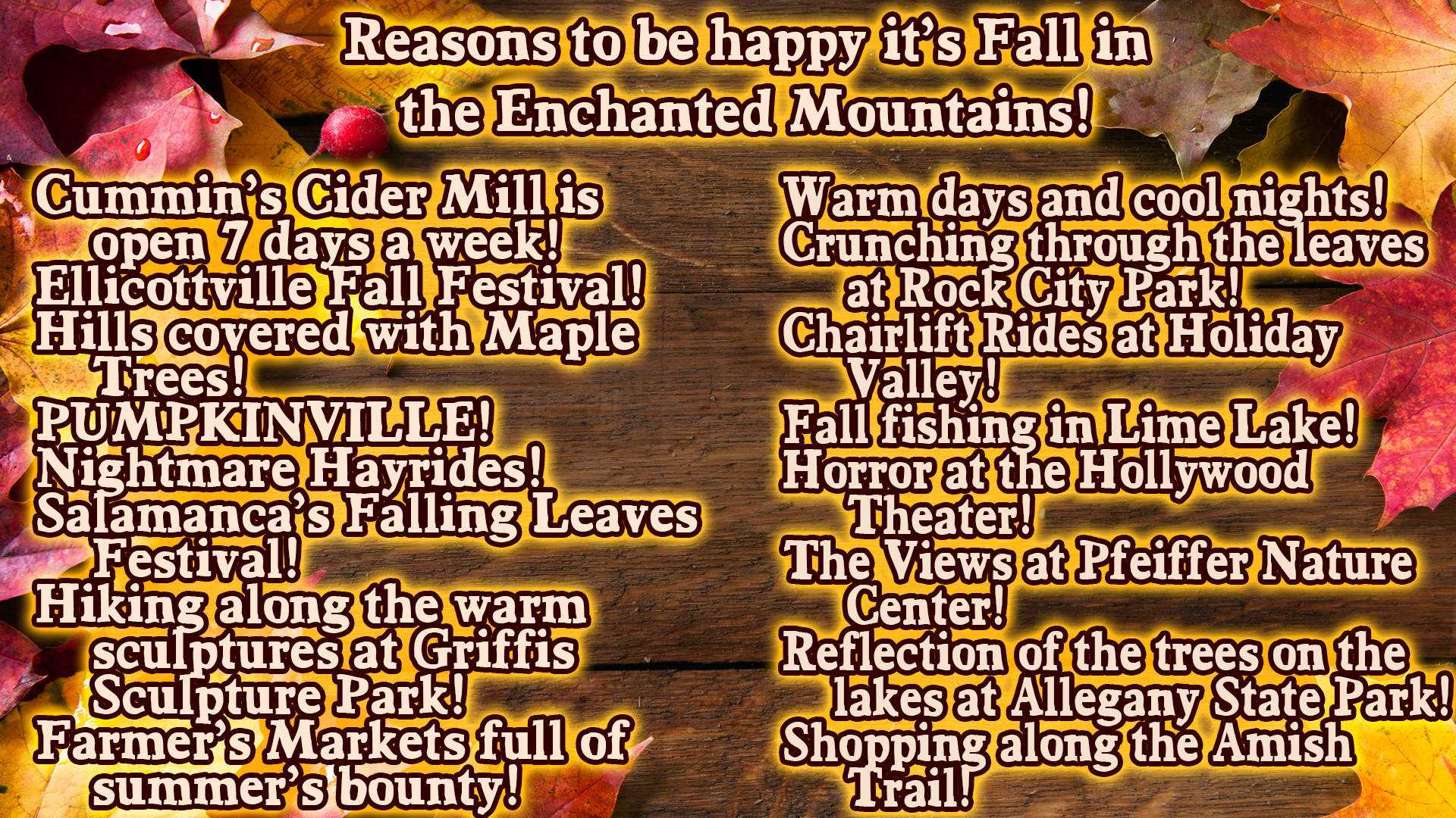 Reasons to be happy it's Fall in Enchanted Mountains