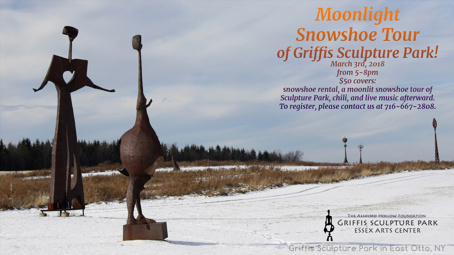 Moonlight Snowshoe Tour of Griffis Sculpture Park